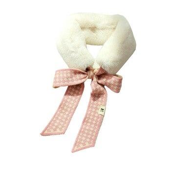2020 autumn and winter new plush scarf Korean knitted woolen collar streamer winter imitation rabbit fur student warm scarf