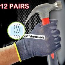 PU1350 gants de travail pour mécaniciens, 12 paires, Nylon et Polyester noirs, antidérapants, antistatiques