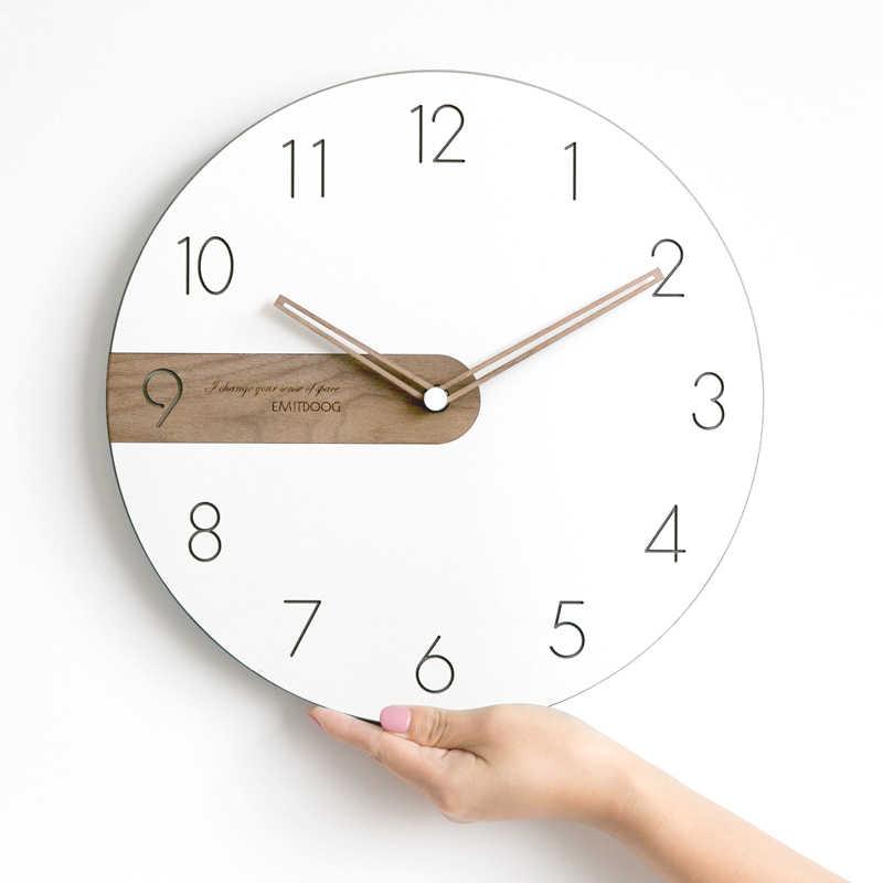 นาฬิกาแขวนผนังโมเดิร์นออกแบบ 3D แขวน Farmhouse Decor Nordic สไตล์สั้นไม้นาฬิกานาฬิกาตกแต่งบ้าน BB50W