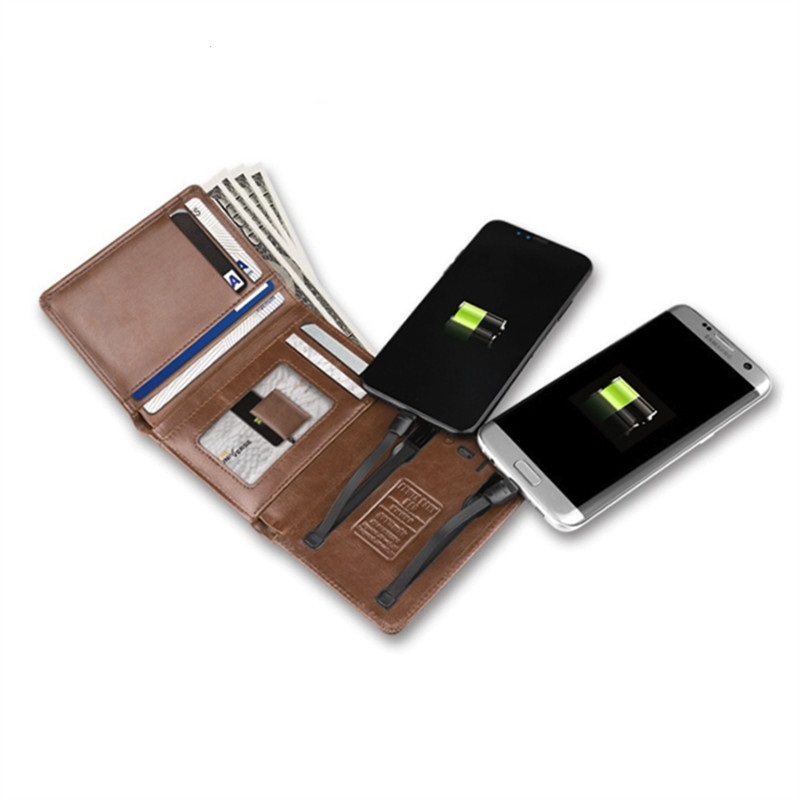 2020 Portable Batter With USB For Charging Wallet  Ipone And Android  For Travel Smart Leather Wallet Money Bag Card Holder