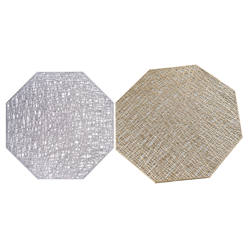 4Pcs PVC Placemats Octagonal Hollow Waterproof Non Slip Table Mats Heat-Insulated Pad Coaster Home Decoration Dinner Placemat title=