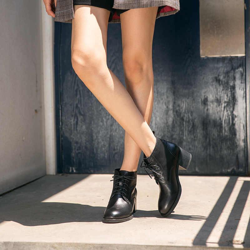 BeauToday yarım çizmeler Kadın Inek Deri Dantel-up Yüksek Topuk Bayan Botları Kış Hakiki deri ayakkabı El Yapımı 03297