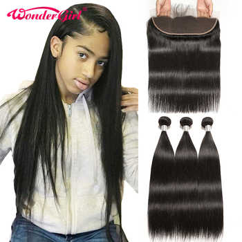 13x4 Ear To Ear Lace Frontal Closure With Bundles Brazilian Straight Hair Bundles With Frontal Remy Human Hair Wonder girl - DISCOUNT ITEM  41% OFF All Category