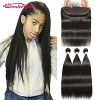 13x4 Ear To Ear Lace Frontal Closure With Bundles Brazilian Straight Hair Bundles With Frontal Remy Human Hair Wonder girl