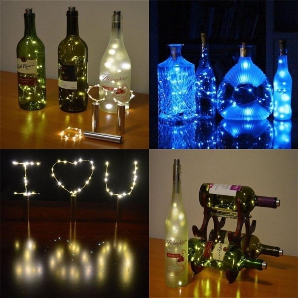 Creative 2M 20leds LED Wine Bottle Light Copper Wire String Light Home Bistro Wine Bottle Lamp Starry Bar Wedding Decoration DA