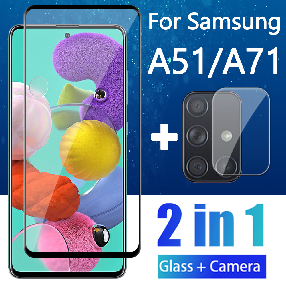 2 in 1 Protective Glass and Camera Lens on the For Samsung Galaxy A51 A71 Screen Protector A 71 51  GalaxyA71 Case Tempered Glas