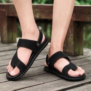 Image 4 - Sandálias masculinas de couro confortáveis, sandálias masculinas de designer para trilha e praia, verão, nova, 2019