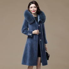 New Winter Wool Fur Coat Fox Fur Collar Hooded Female Jacket Elegant Mid-Length Slim Coats Women Sheep Shearing Coat Femme