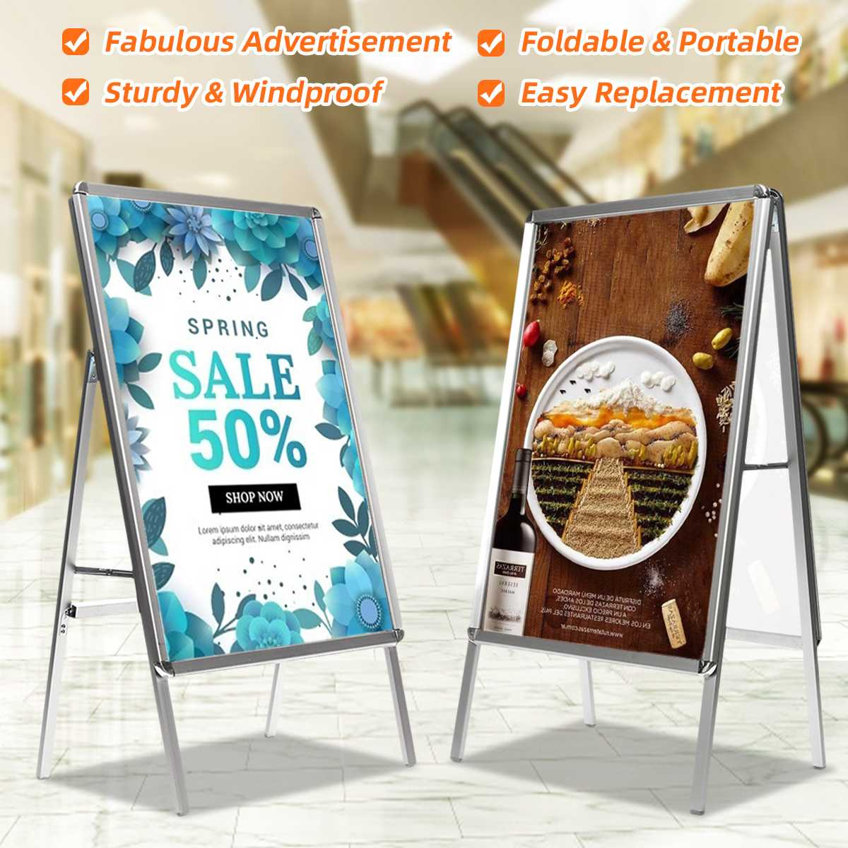 Folding Aluminum Alloy Banner Stand Assembly Poster Display Stand Frame Presentation Advertisement Display Shelf Holder