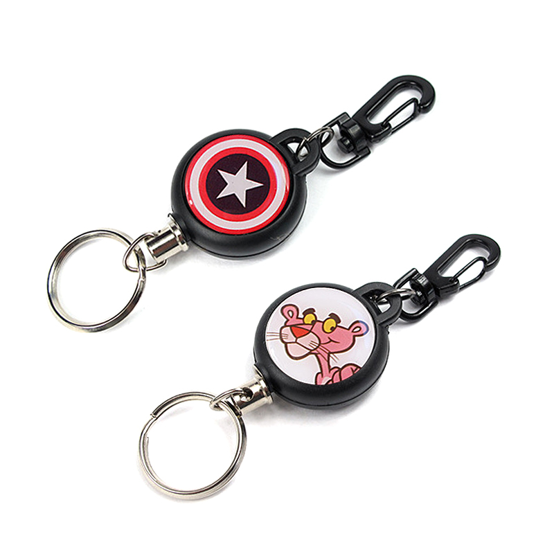 New Cartoon Retractable Pull Keychain Key Ring Lovely ID Lanyard Name Tag Card Badge Holder Antiloss Reels Steel Wire Key Holder