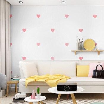 decorateCute fashion love heart wallpaper minimalist black heart pink heart wall cover children's bedroom living room home wall heart