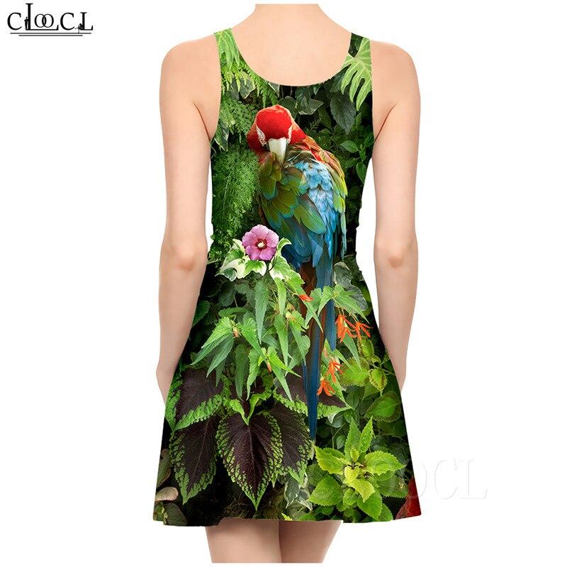 Ladies Dress Fashion Elegant Parrot Printed Colorful Dresses Sexy Women's Girls Short Slim Dress Beach Summer vestidos de verano (4)