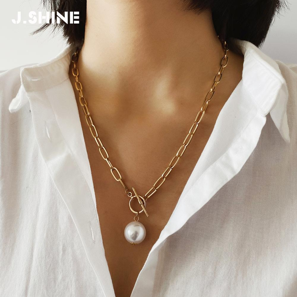 JShine Gothic Baroque Pearl Pendant Necklace for Women Wedding Punk Big Bead Long Golden Chain Necklaces Pendants Jewelry(China)
