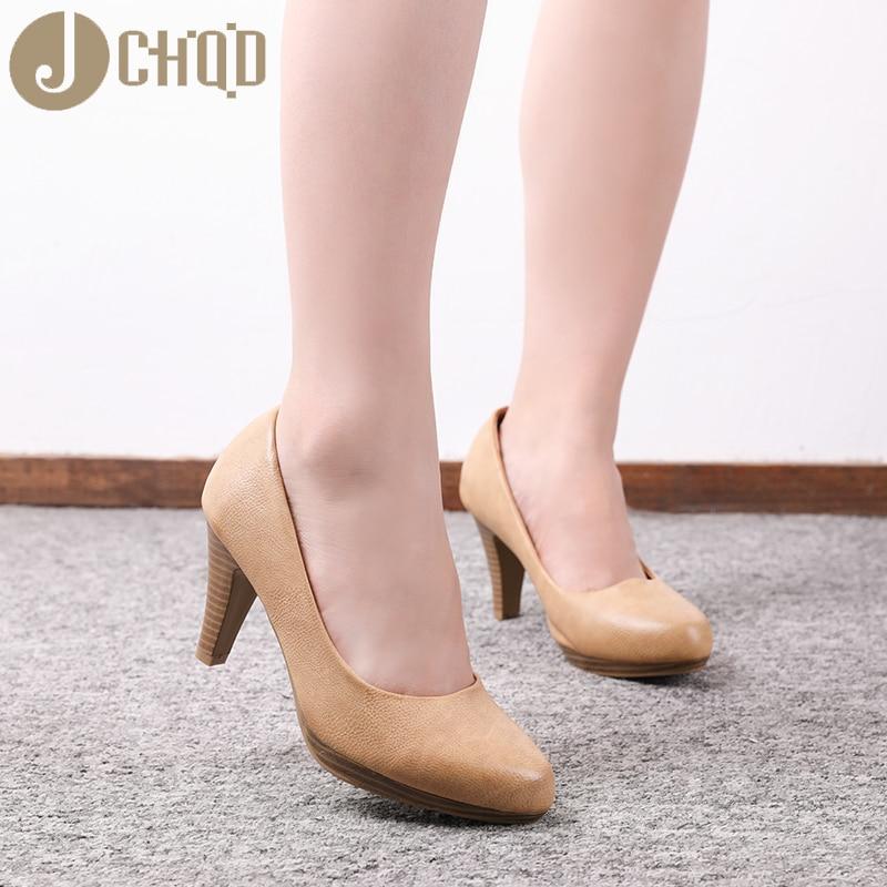 JCHQD 2020 New  Women Med Heels  High Quality Shoes Classic Pumps  Shoes for Office Ladies Shoes European size36 41 Women shoesWomens  Pumps