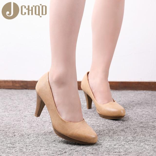 JCHQD 2020 جديد إمرأة ميد الكعوب أحذية فائقة الجودة الكلاسيكية مضخات أحذية لمكتب السيدات الأحذية الأوروبية size36 41 النساء الأحذية