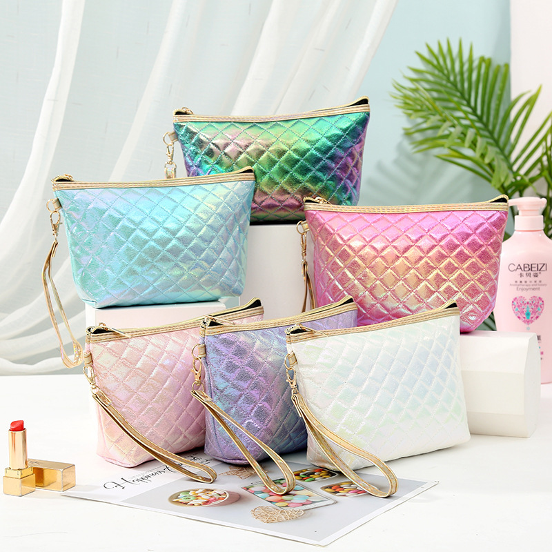 New Fashion Plaid Cosmetic Bag Casual Travel Toiletry Storage Bag PU Makeup Case