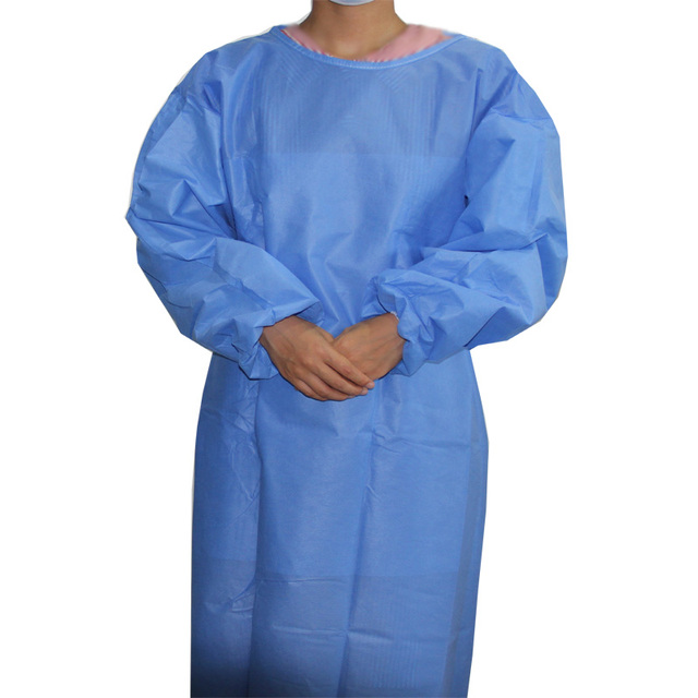 $ US $18.78 4pcs/pack sterile SMS 45g Non-woven standard 1.2mx1.2m blue surgical gown with elastic cuff for hospital