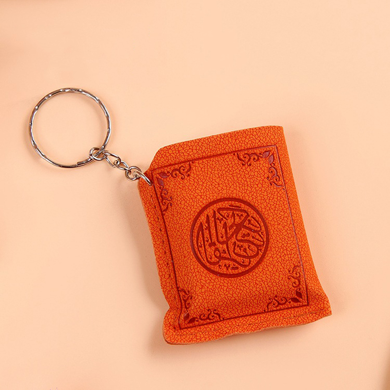Image 4 - Mini Islamic Muslim Ark Quran Book Key Chain Ring Car Bag Purse  Real Paper Can Read Pendant Charm Muslim JewelryKey Chains   -