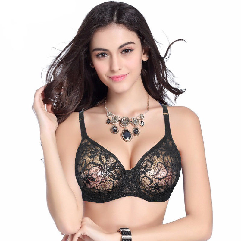 <font><b>Sexy</b></font> Womens <font><b>Bras</b></font> <font><b>Lace</b></font> Sheer Bralette Underwired Unpadded Underwear Ultra-thin See Through Lingerie Brassiere A B C <font><b>D</b></font> DD <font><b>Cup</b></font> image