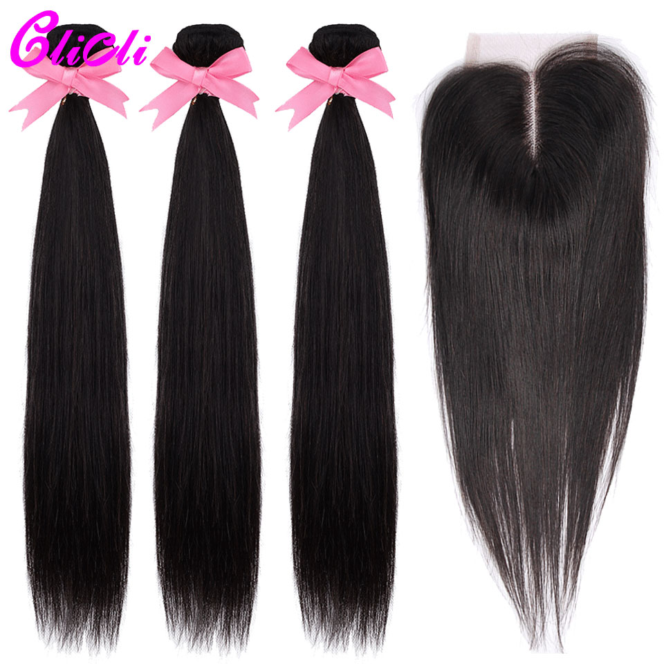 Brazilian Hair Bundles With Closure Straight Remy Human Hair 3 Bundles With 4x4 Swiss Transparent Lace 150% Density Middle Part