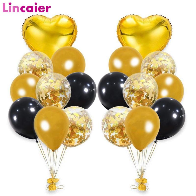 20pcs Black Gold Heart Mixed Balloons Graduation 2020 Party Decoration Gift Photo Booth Props Class Of 2020 Photobooth Supplies
