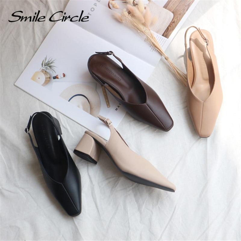 Smile Circle Summer High Heel Sandals Feminina Women Shoes Fashion Asakuchi Square Head Casual Ladies Shoes