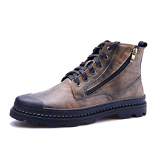 Hight Quality 100% Genuine Leather Men Ankle Boots Italian Real Martin Male Winter Shoes With Plush 4#15/15E50