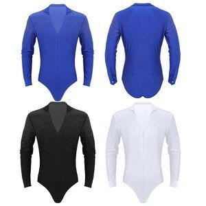 Image 4 - Iiniim 남자 반짝 이는 라인 석 볼룸 바디 슈트 의상 dancewear 라틴 탱고 룸바 댄스 셔츠 leotard bodysuit shirt tops