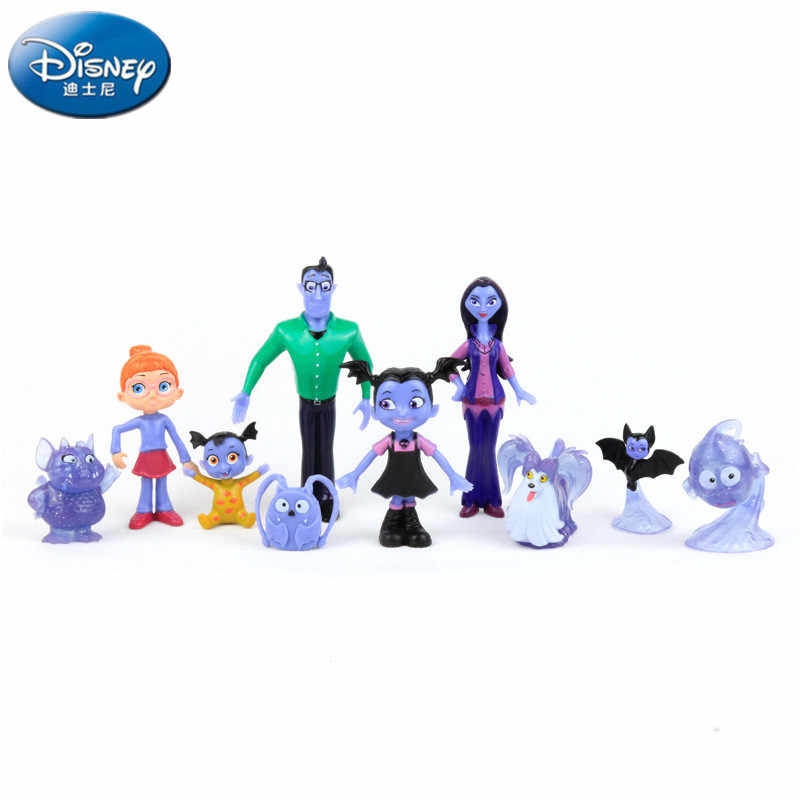 Disney 10pcs/lot Vampirina Batgirl Mom and Dad doll Humanoid Doll Action Map Children's toy ornaments Girls'Birthday Gifts