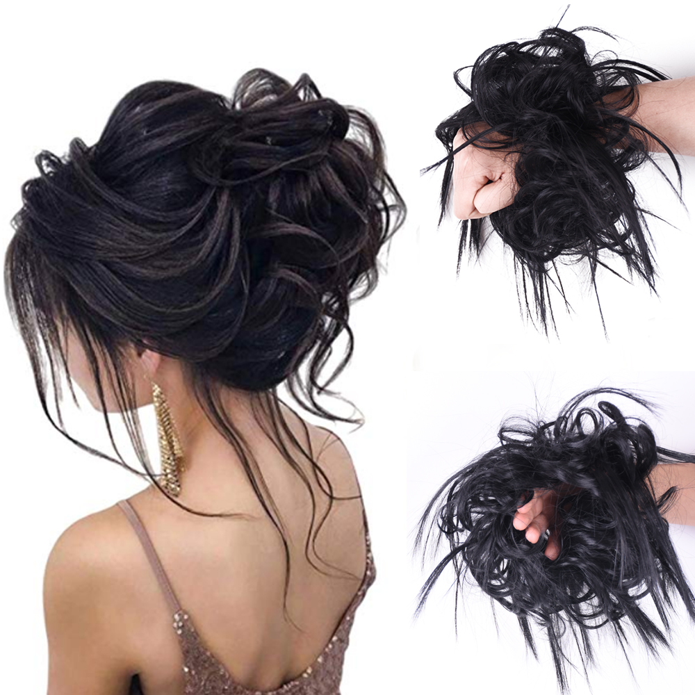 Messy Bun Scrunchie Elastic Band Chignon Hair Bun Curly Updo Cover Synthetic Hairpiece For Women Donut Wrap Ponytail
