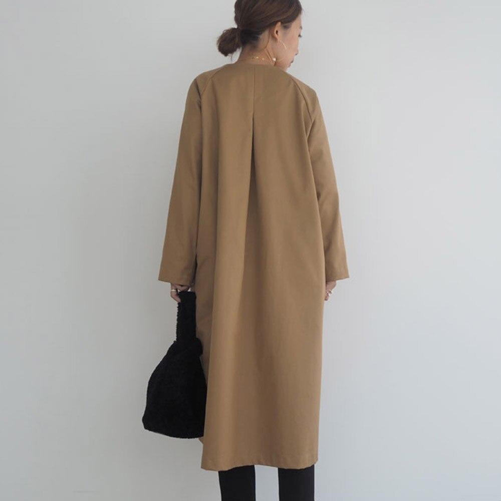 Elegant Trench Coat Women Autumn Spring Solid Khaki Double Breasted Korean Office Ladies Long Coats Rerto Windbreaker Outwear
