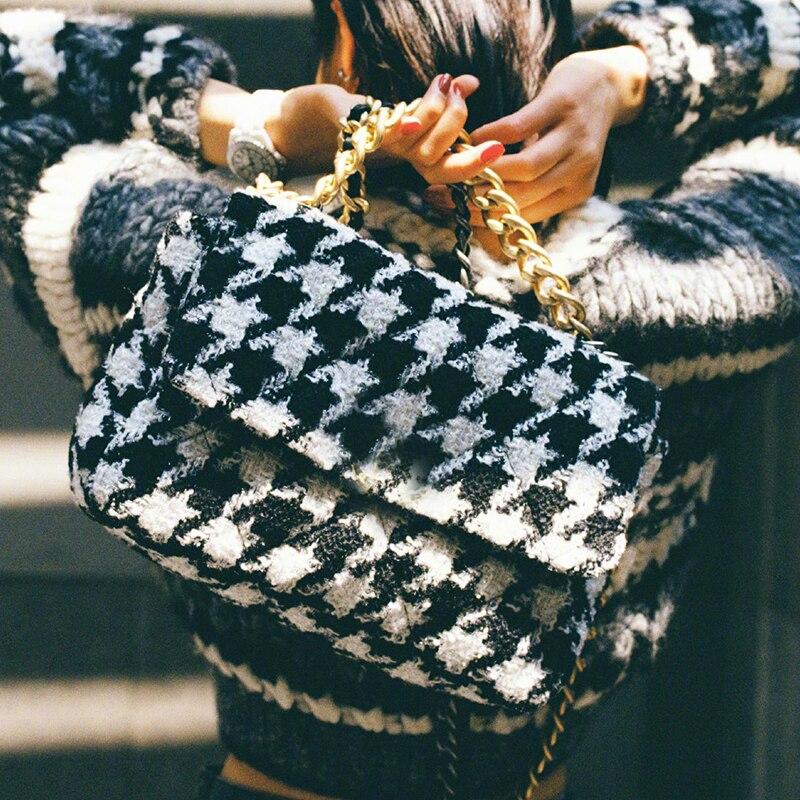 wool women crossbody bag Women's messenger bag new 2019 fashion woolen chain Houndstooth shoulder bag small square handbag