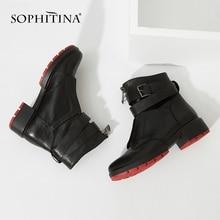 Sophitinaリアルシープスキンクラシックな女性ブーツ暖かいショートぬいぐるみ足首正方形のかかとのブーツレトロなバックルストラップ女性の靴M46