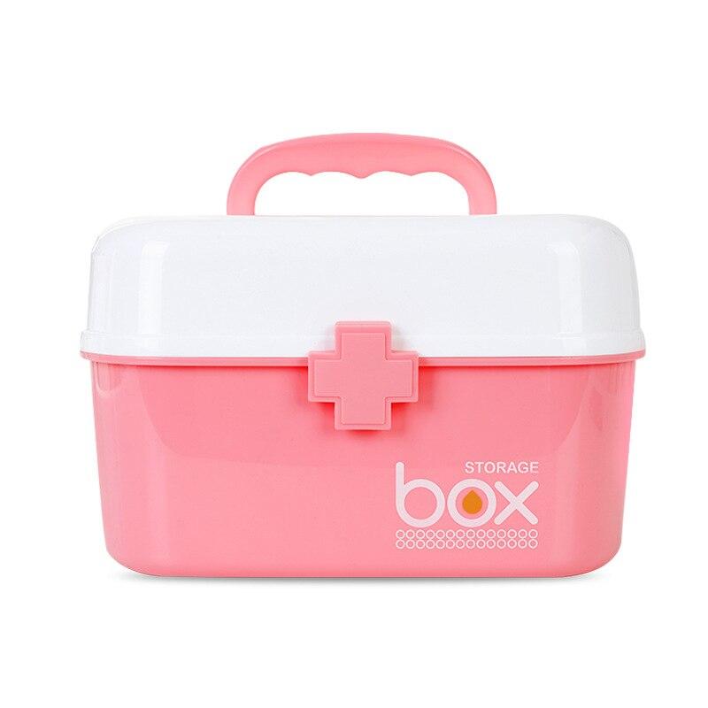 Trousse de premiers soins à domicile boîte à médicaments boîte de rangement conteneur en plastique trousse d'urgence Portable multicouche grande capacité coffre à médicaments