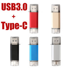 USB 3,0 tipo-C usb 3,1 flash drive 64GB 128GB de Metal personalizado OTG Pen Drive 32GB USB Stick 16GB para teléfonos Micro Flash USB tipo C(China)