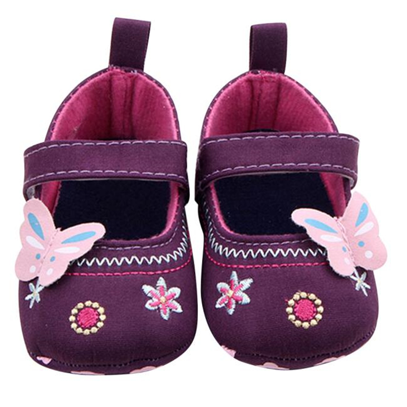 A Pari Baby Girl Crib Shoes Newborn First Step Shallow Hook & Loop Shoes Princess Embroidery Butterfly Toddler Footwear A40