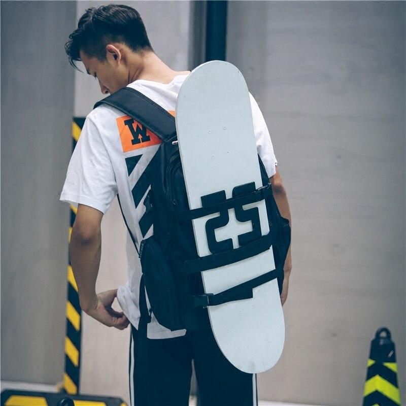Multi-function Black Portable Skateboard Backpack Oxford Fabric Double Rocker Shoulder Backpack Longboard Bag Parkour Sports Bag