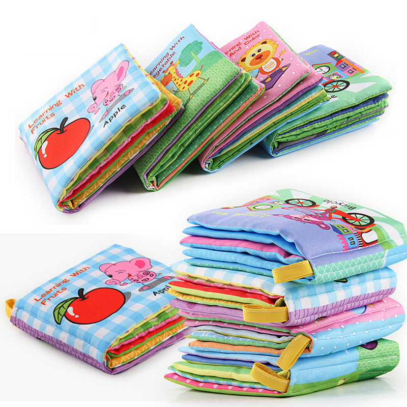 8/10 Pages Soft Animal Cloth Book Baby Rattles Mobiles Toy Newborn Stroller Hanging Toy Bebe Early Learning Educate Baby Toys