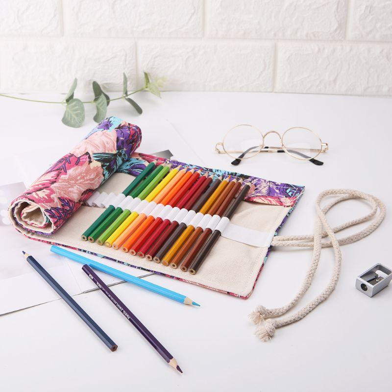 Maple Leaf 12/24/36/48/72 Holes Canvas Roll Up Makeup Pencil Bag Wrap Curtain Pen Case Holder Storage Pouch School Supplies