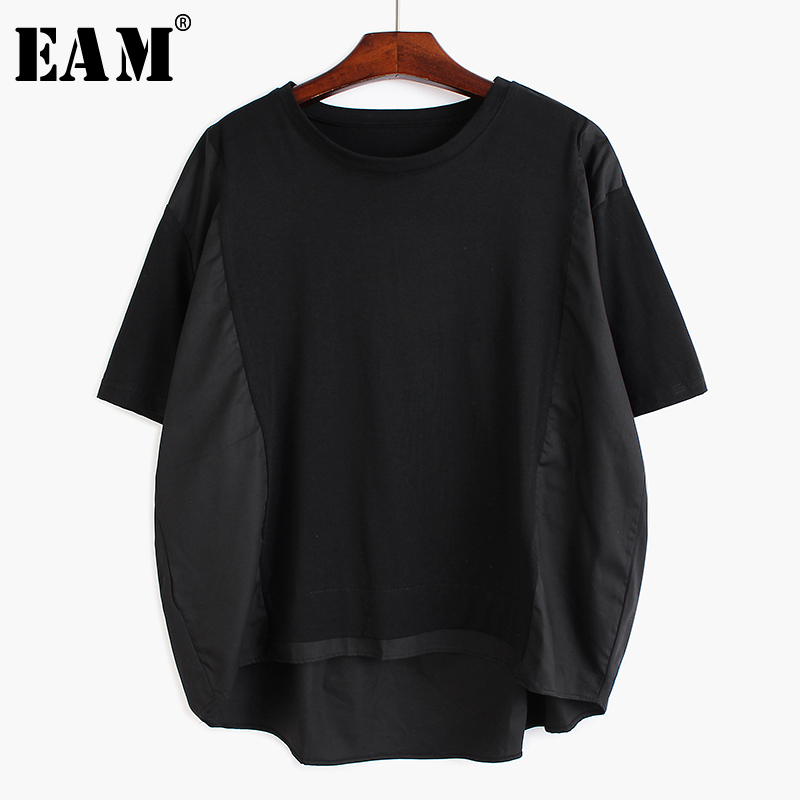 [EAM] Women Back Ruffles Split Joint Big Size T-shirt New Round Neck Short Sleeve  Fashion Tide  Spring Summer 2020 1S6000