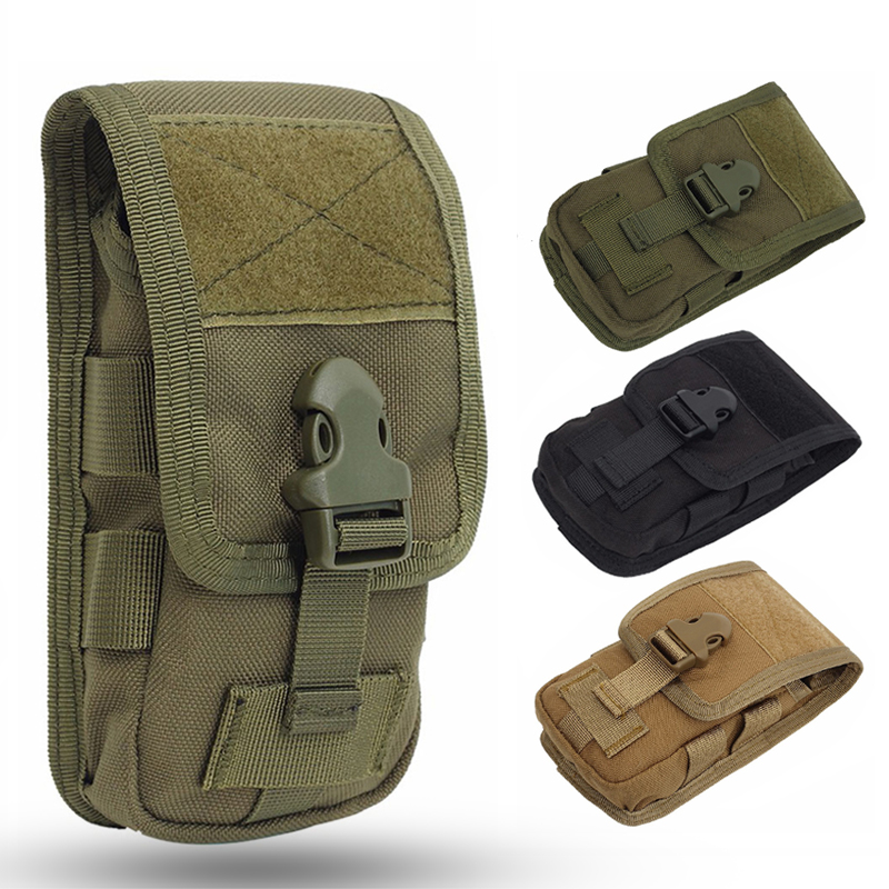 Double Layer Tactical Phone Pouch Bag Belt 600D Nylon Waterproof Molle System Hunting Molle Fanny Mobile Phone Purse Outdoor