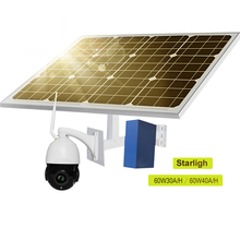 60W 30A 40A Solar Panel for 3G 4G WiFi PTZ IP Camera Wireless Network Onvif P2P Outdoor Security CCTV IP Camera 2 DC Output