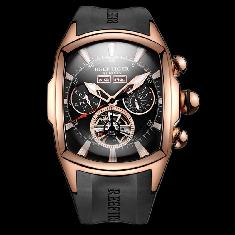 Reef Tiger/RT Luxury Watches Men's Tourbillon Analog Automatic Rose Gold Tone Sport Wrist Watch Clock Relogio Masculino RGA3069