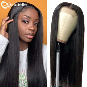 Image 1 - 5x5 Lace Closure Wig Brazilian Straight Lace Front Human Hair Wigs for Black Women 6x6 Closure Wig Remy Hair Gabrielle