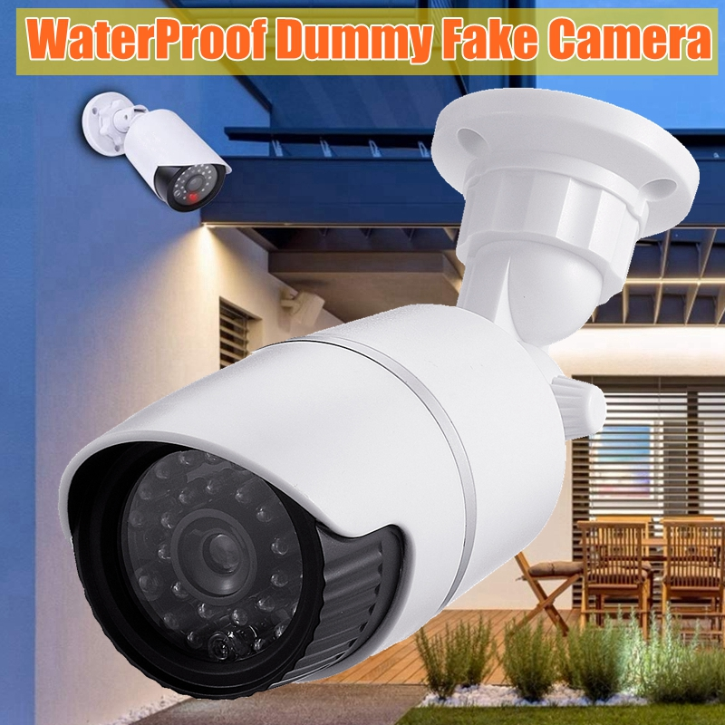 2Pcs KCASA Dummy Simulation Fake Camera Waterproof Outdoor Indoor Home Security Bullet CCTV Surveillance With Flashing LED Light
