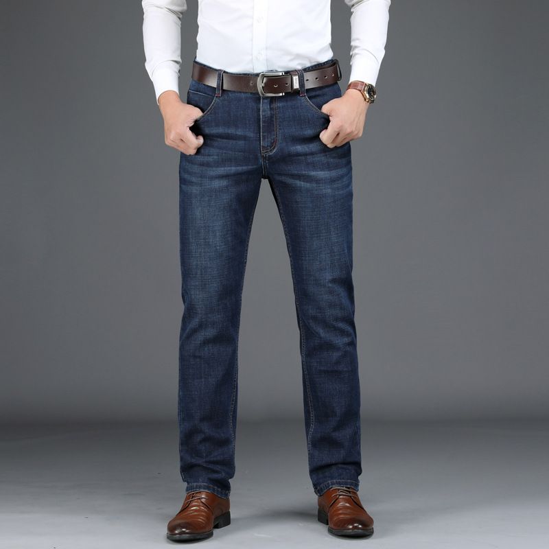 High Quality Mens   Jeans   Brand Denim Pant Men Business Casual Mid-waist Straight Cotton   Jeans   Men Plus Size 29-42   Jeans   Hombre