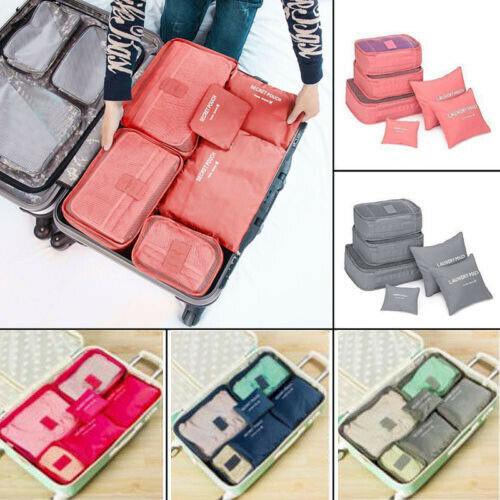 6Pcs Waterproof Packing Cubes Multipurpose Bags Travel Luggage Organizer Clothes Storage Bag Suitcase Travel Storage Bags