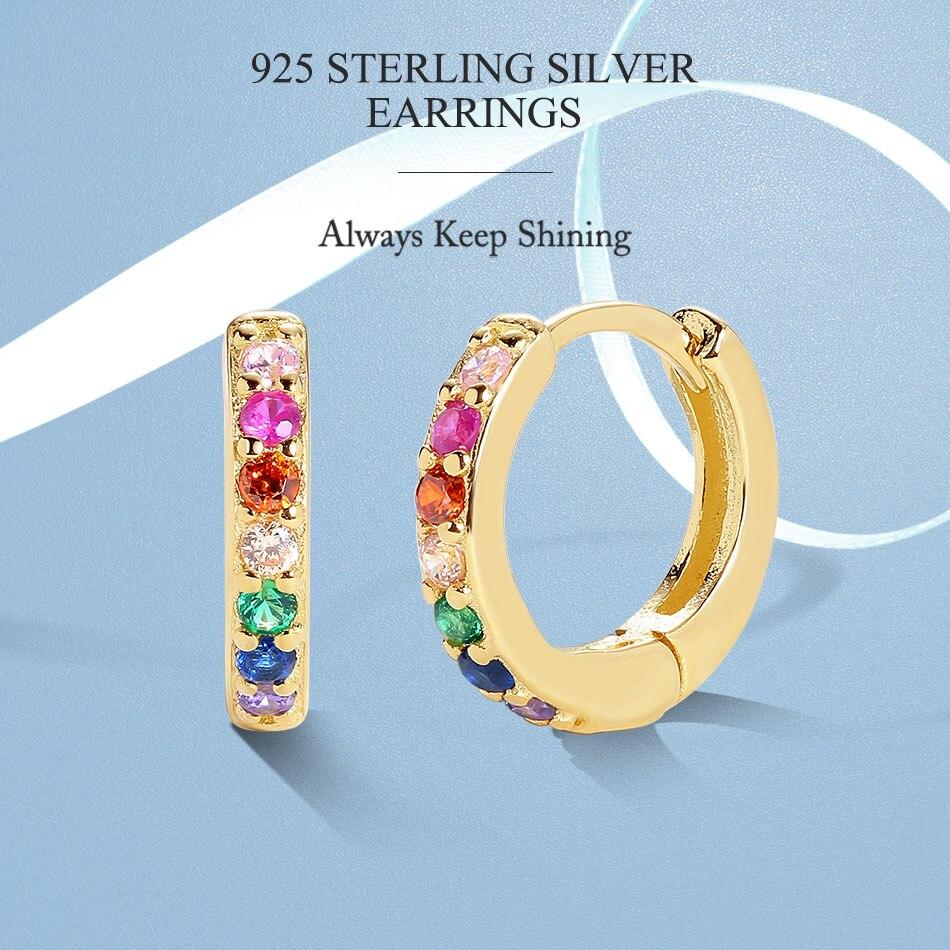 ELESHE authentique 925 boucles d'oreilles en argent Sterling pour les femmes éblouissant cristal arc-en-ciel cerceaux boucles d'oreilles mariage fiançailles Fine bijoux 2