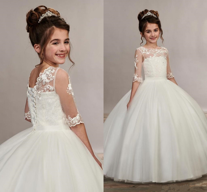 Pure White Elegant Princess Dress Custom Made Ball Gowns Holy First Communion Gowns Illusion Half Sleeves Lace Up Back Vestidos