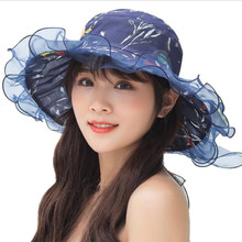 Willow Valley Large Brimmed Gauze Hats Summer Anti-UFV Pink Flower Outdoor Big Bowknot Collapsible Beach Sun